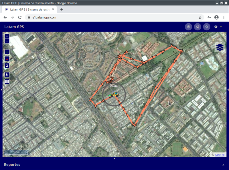 Vista con mapa satelital